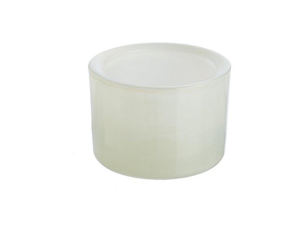 Svícen sklo 57x83mm na mal./velkou čajovou svíčku | slonová kost