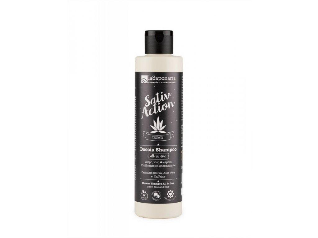 laSaponaria Pánský sprchový gel a šampon s konopím 2v1 BIO 200 ml