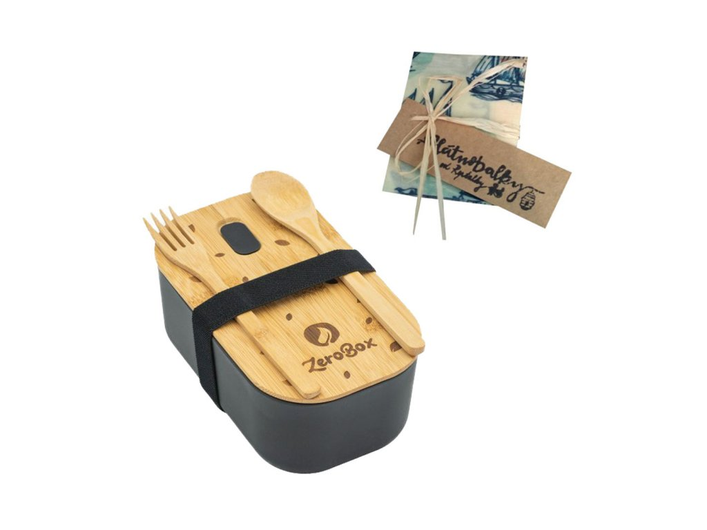 ZeroBox Lunch box a voskovaný ubrousek Půlovocník (S)