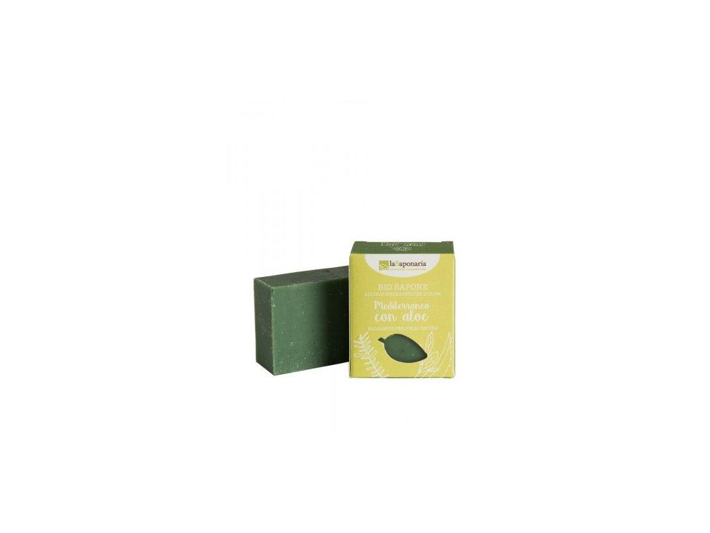 laSaponaria Tuhé olivové mýdlo BIO - Středomořské bylinky s aloe (100 g)