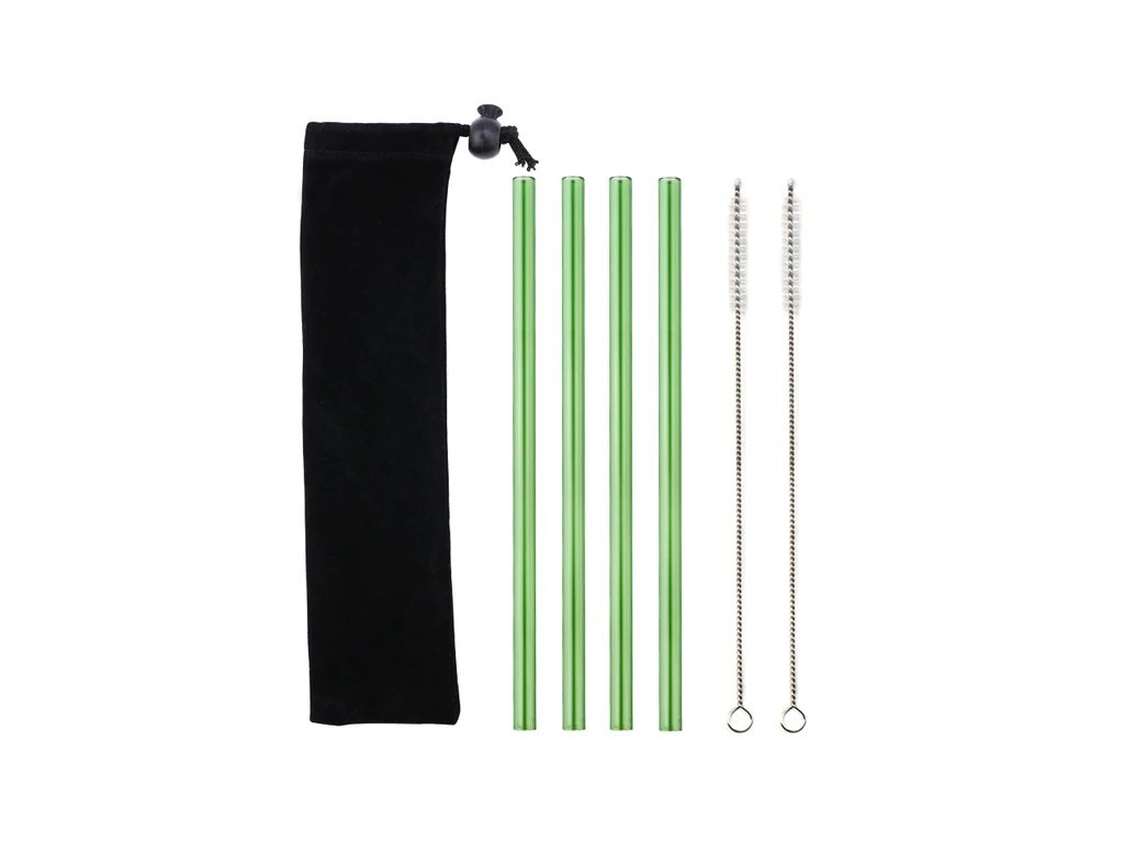 Brčka skleněná rovná 4 ks | zelená