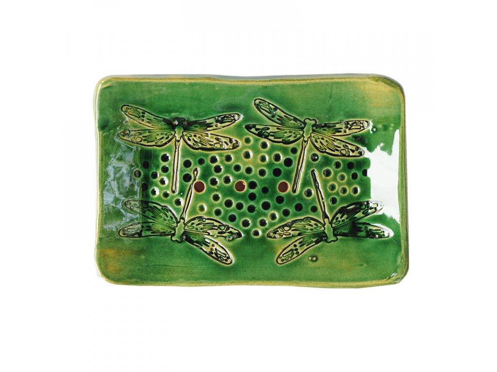 Keramická mýdlenka VÁŽKY III   výrazná zelená