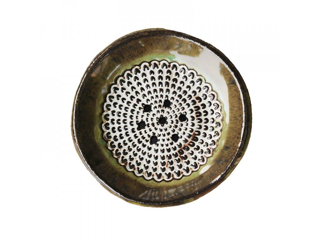 Keramická mýdlenka kulatá | hnědo-zelená