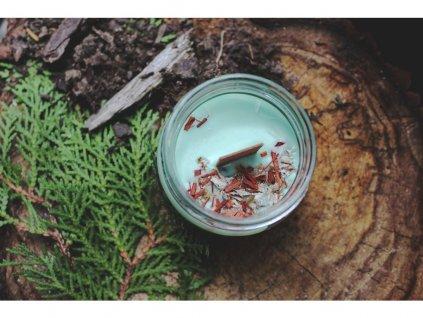 Sojová svíčka ve skle s dřevěným knotem 150 ml | Růže a ylang ylang