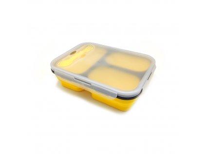 Skládací silikonová dóza na potraviny žlutá