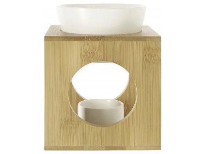Aromalampa - bambus a keramika | bílá