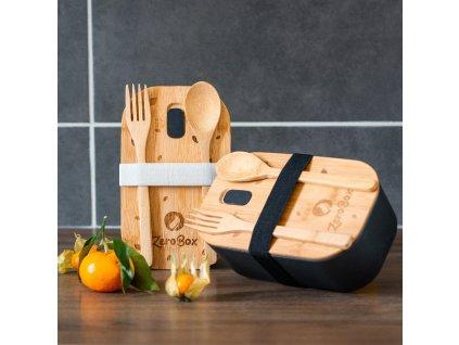 ZeroBox - obědový box s příborem | černá
