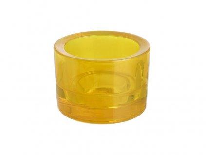 Svícen sklo 57x83mm žlutý na mal./velkou čajovou svíčku