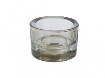 Svícen sklo 57x83mm šedý na mal./velkou čajovou svíčku
