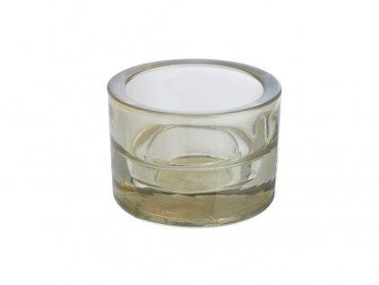 Svícen sklo 57x83mm béžový na mal./velkou čajovou svíčku