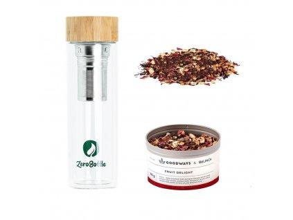 Sklenená termoláhev ZeroBottle 450 ml s ovocným čajem Fruit-Delight