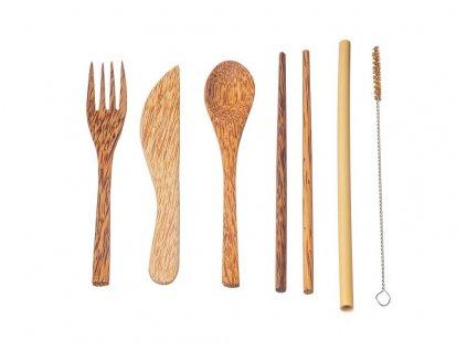 Dřevěná sada příborů (7ks)