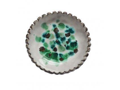 Keramická miska | bílá s mint žíháním II