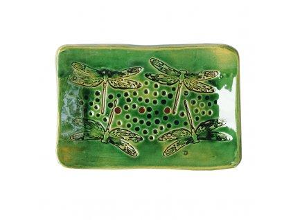 Keramická mýdlenka VÁŽKY III | výrazná zelená