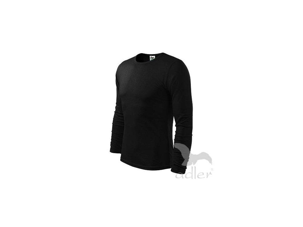 pánské tričko 160gr, kulatý výstřih dlouhý rukáv - černé