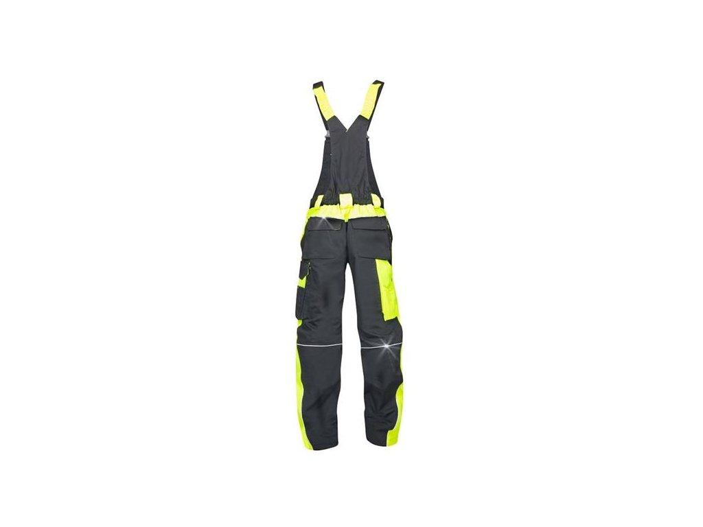 NEON kalhoty laclové černo-žluté