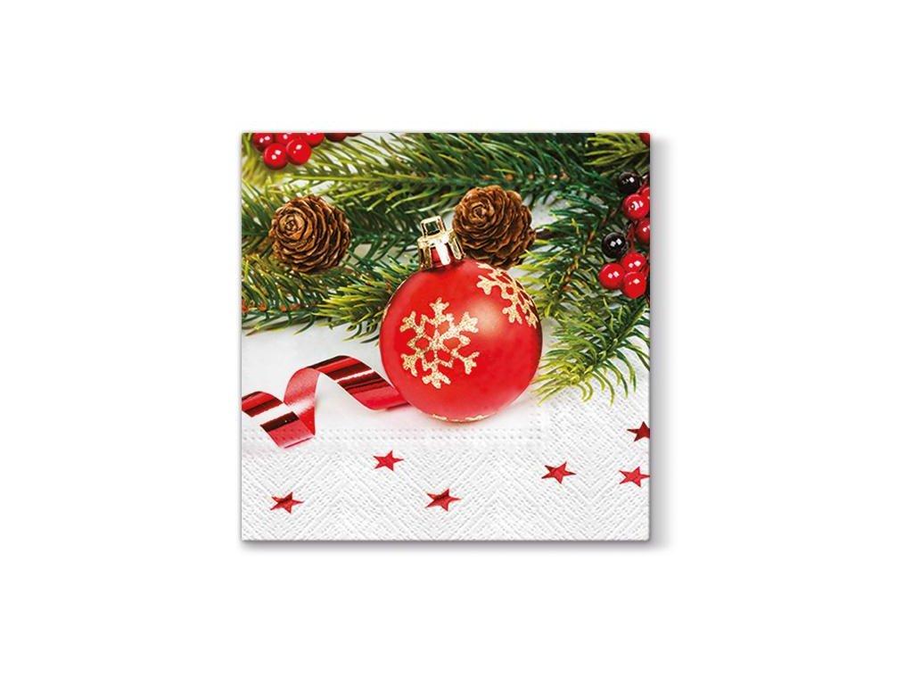 Vánoční papírové ubrousky Red Bauble 20 ks