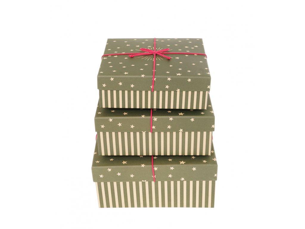 darkove krabice s pruhy a hvezdami zelene 3ks
