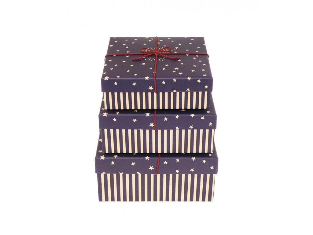 darkove krabice s pruhy a hvezdami modre 3ks