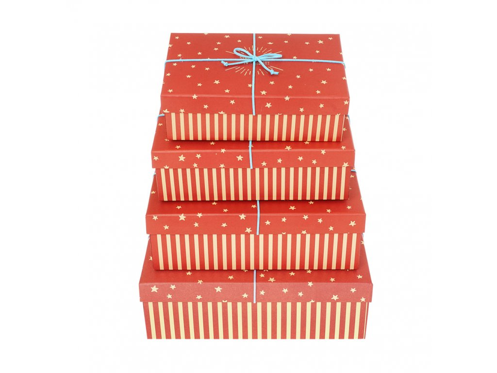 darkove krabice s pruhy a hvezdami cervene 4ks