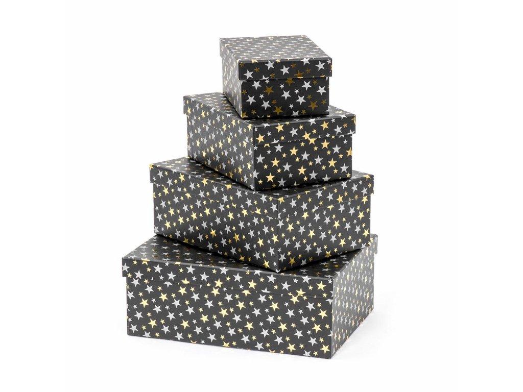 Dárkové krabice Leila 2 - černé 4 ks