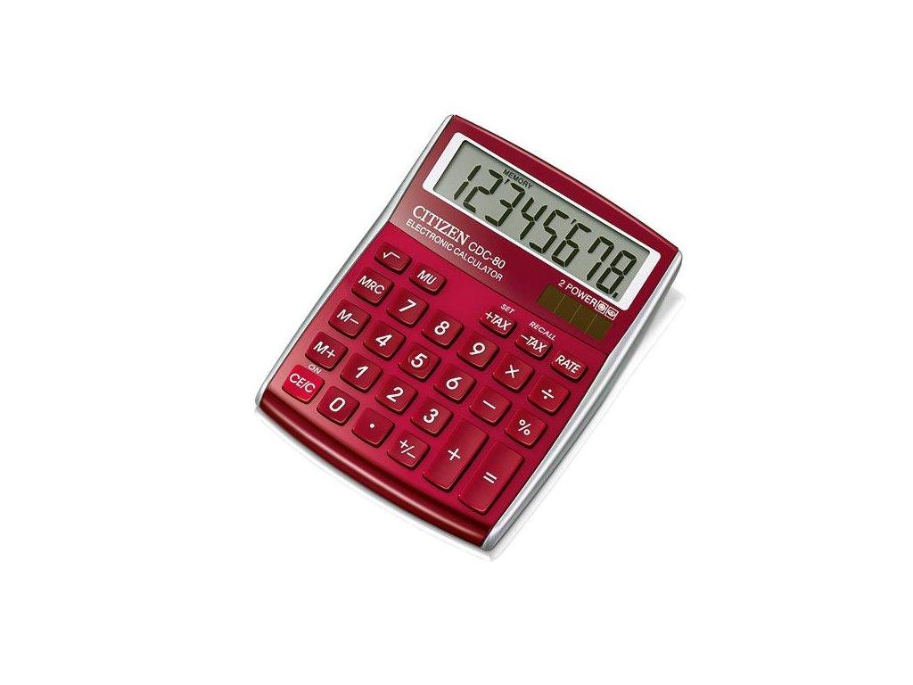 610 1 stolni kalkulacka citizen cdc 80 cervena