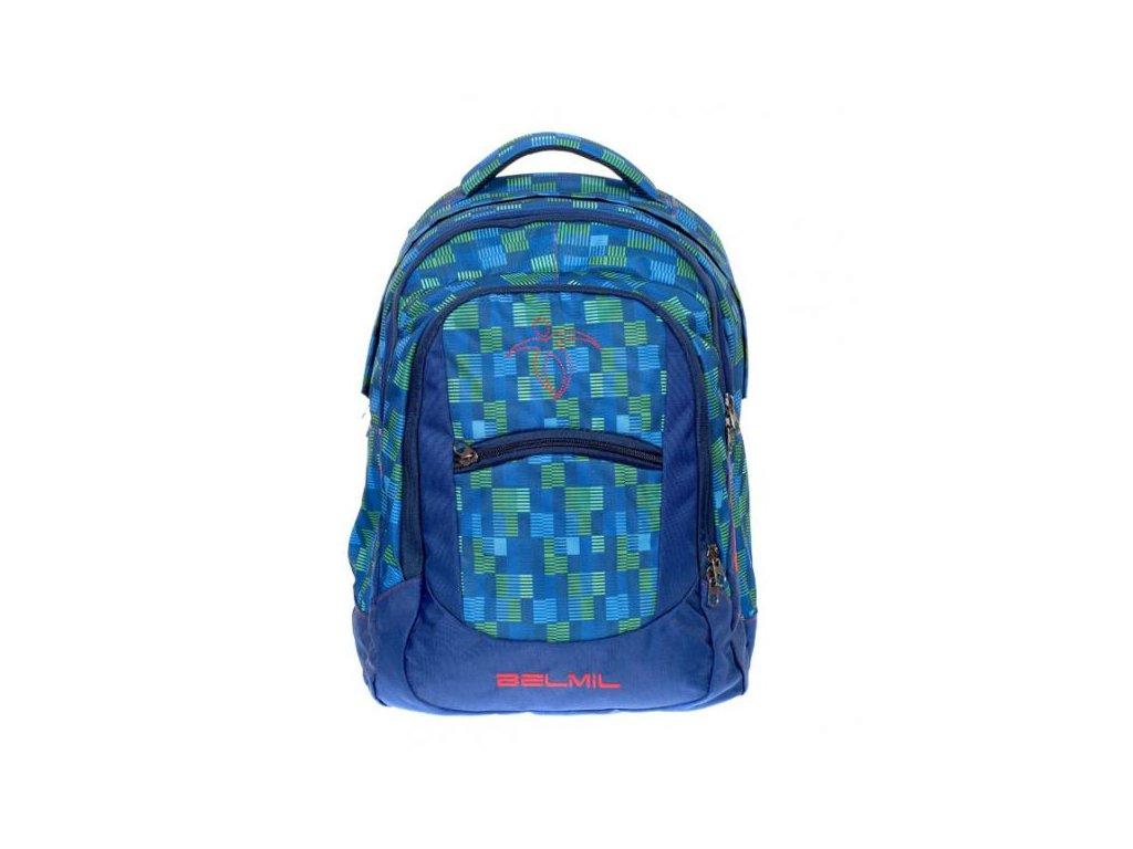 9975 3 skolni batoh green blue sacek na prezuvky