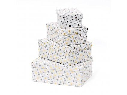 Vánoční dárkové krabice Leila - stříbrné 4 ks