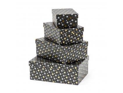 Vánoční dárkové krabice Leila - černé 4 ks