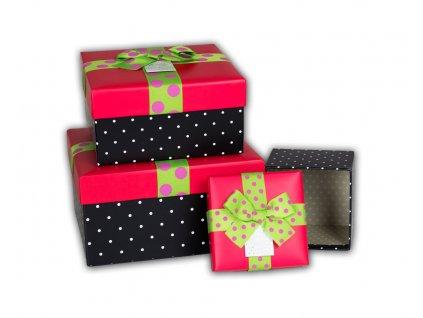 darkove krabice s puntiky ruzova cerna