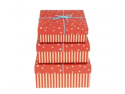 darkove krabice s pruhy a hvezdami cervene 3ks