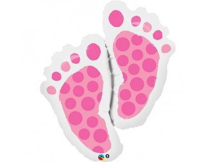 Fóliový balónek Baby feet - růžový