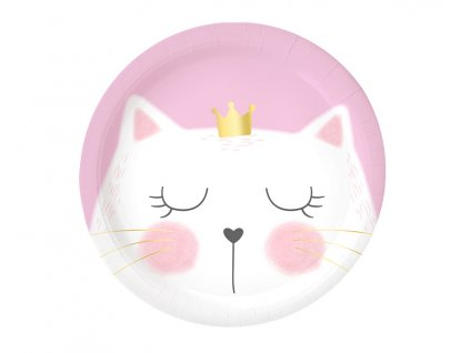 Papírové talíře malé - kočka 6 ks