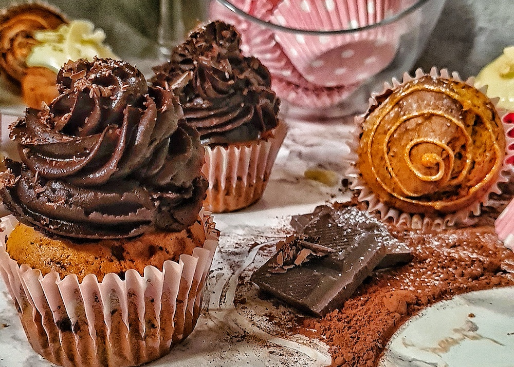 Hokkaido cupcaky sčokoládovým krémom