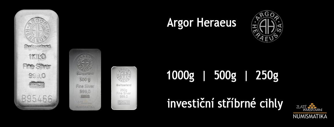 Investiční stříbrné cihly Argor Heraeus