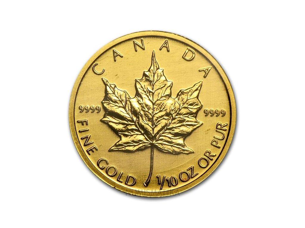 Investiční zlatá mince Kanadský Maple Leaf 1/10 Oz