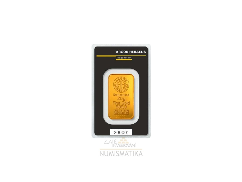 Investiční zlatá cihla Argor Heraeus 20g