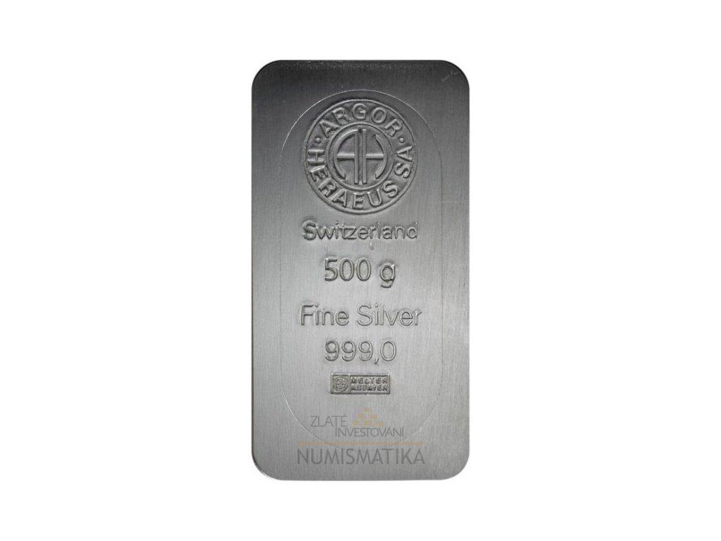 Investiční stříbrný slitek Argor Heraeus 500g