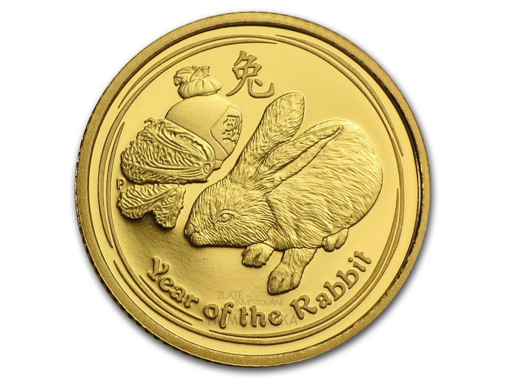 Investiční zlatá mince rok králíka 2011 1/20 Oz