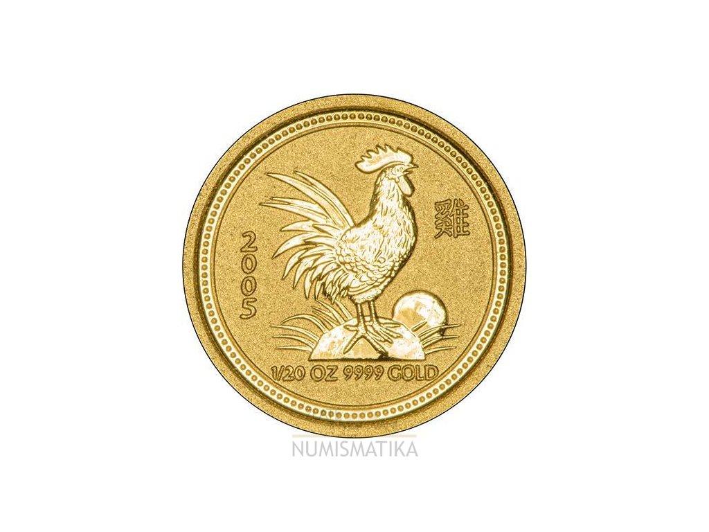 Investiční zlatá mince rok Kohouta 2005 1/20 Oz