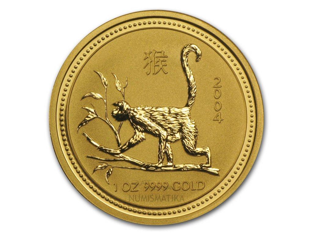 Investiční zlatá mince rok Opice 2004 1/20 Oz