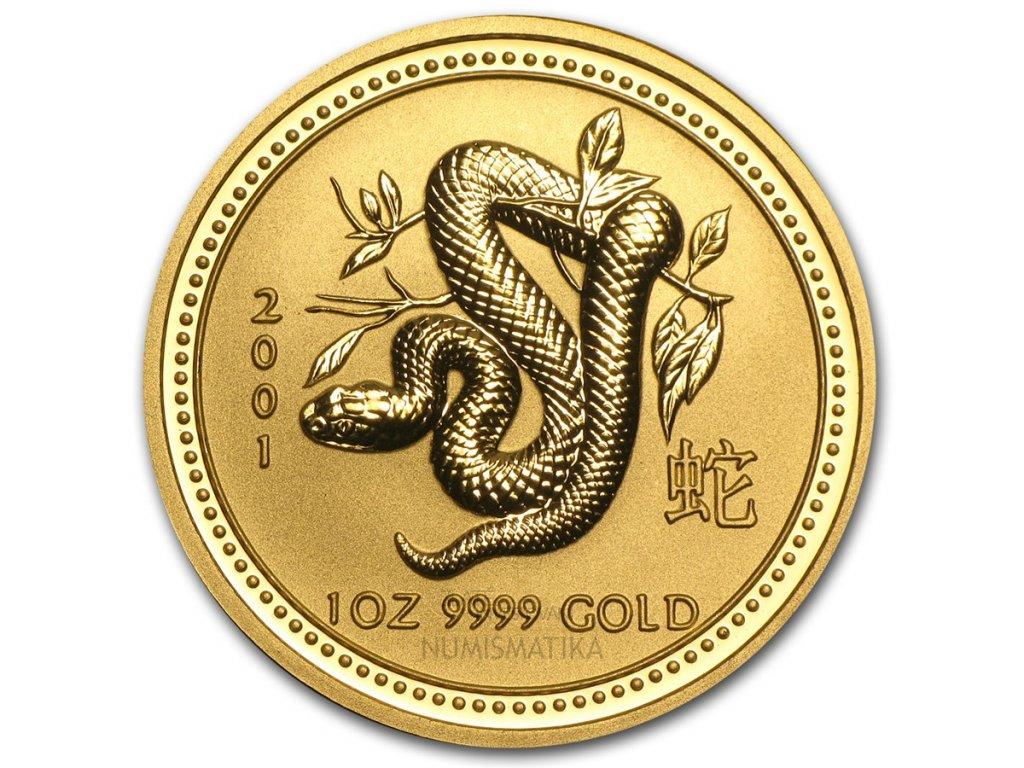 Investiční zlatá mince rok Hada 2001 1/20 Oz