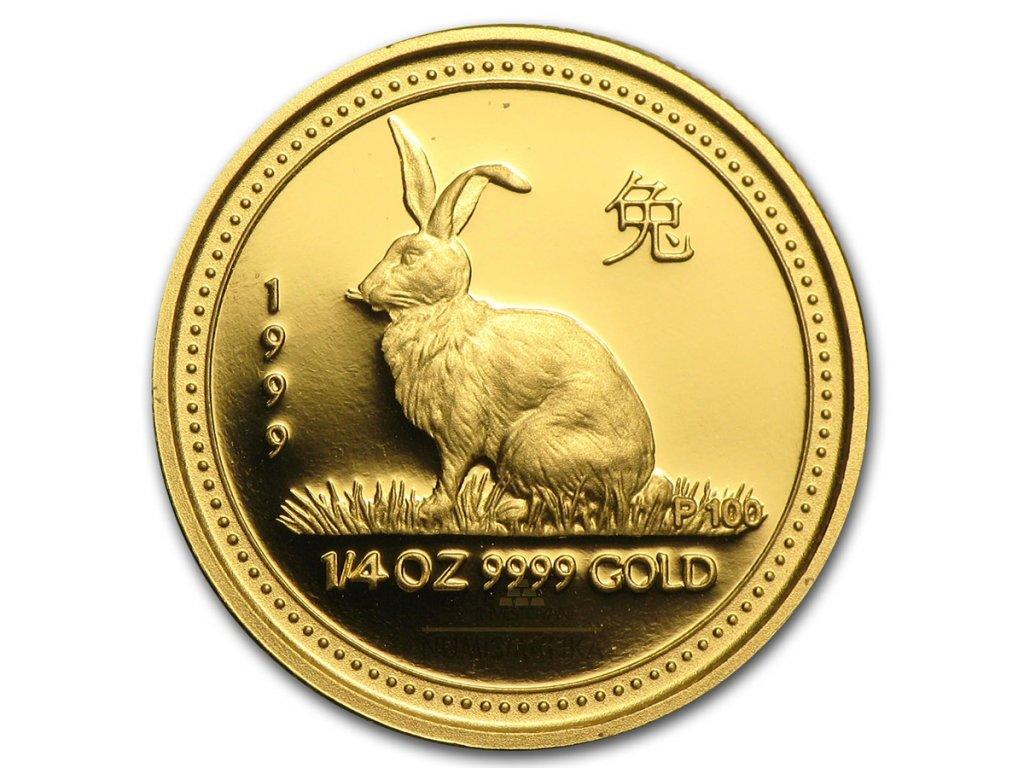Investiční zlatá mince rok Králíka 1999 1/20 Oz