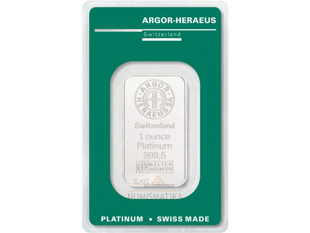 Investiční platinová cihla Argor Heraeus 1 Oz