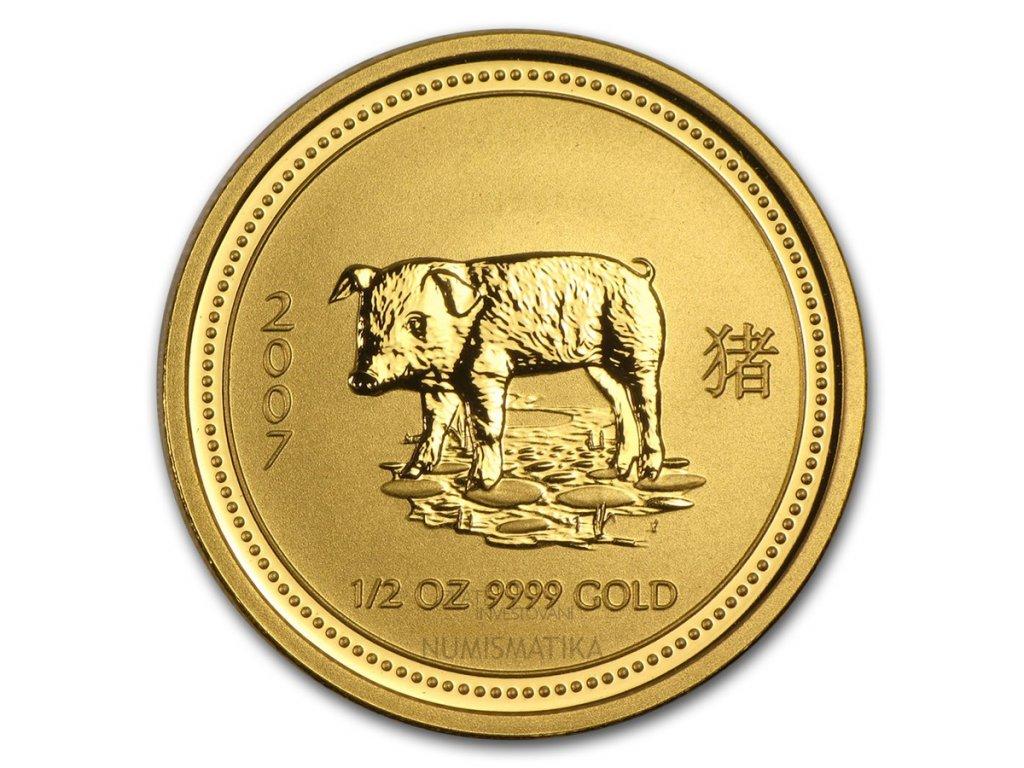Investiční zlatá mince rok Vepře 2007 1 Oz