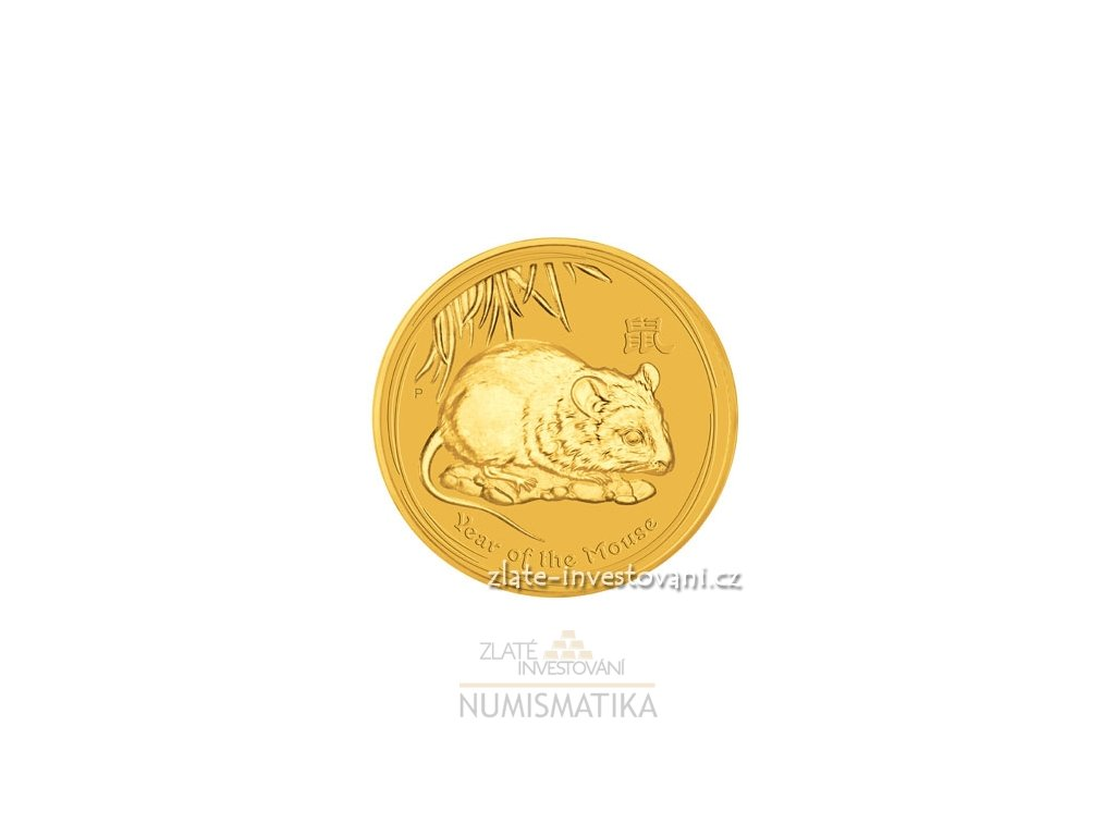 Investiční zlatá mince rok myši 2008 1/4 Oz