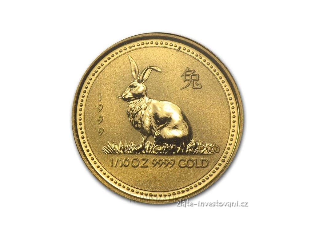 Investiční zlatá mince rok Králíka 1999 1/10 Oz