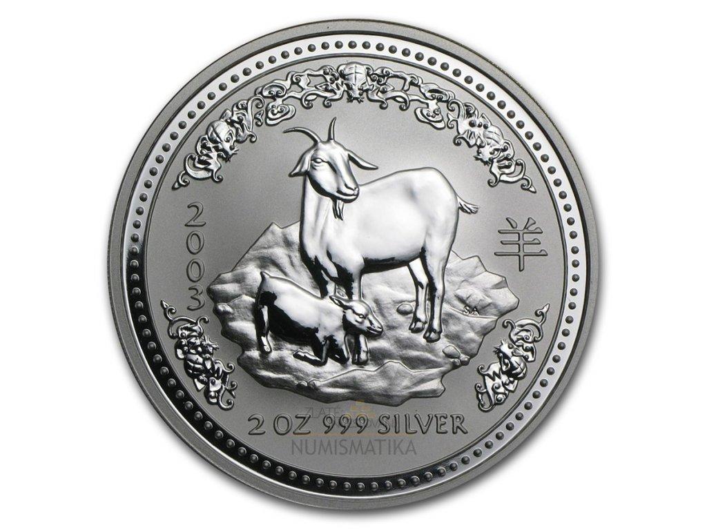 Investiční stříbrná mince rok kozy 2003 1 Oz