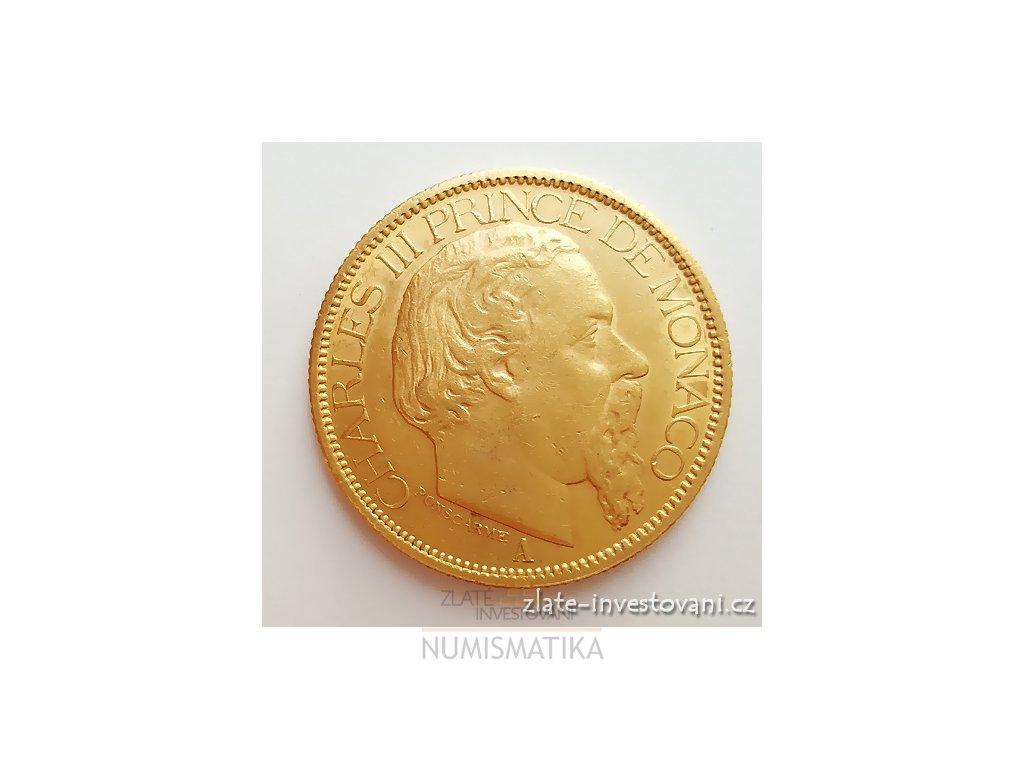 3071 zlata mince monacky 100 frank charles iii 1882