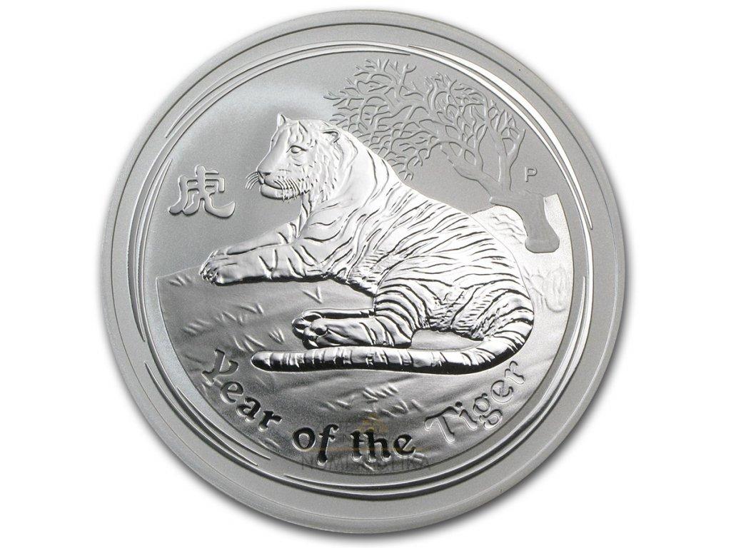 Investiční stříbrná mince rok tygra 2010 2 Oz